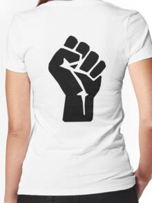 FIST, Black, Rebellion, Strength, Power, Grasp, Grab, Hold, Tough, MMA Women's Fitted V-Neck T-Shirt