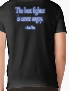 Lao Tzu, The best fighter is never angry. Combat, Ju Jitsu, Karate, Kung Fu, Boxing, Wrestling, MMA, Martial Arts Mens V-Neck T-Shirt