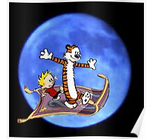 calvin and hobbes moon sky Poster