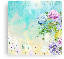 Watercolor Fresh Flowery Background Canvas Print