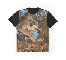 Mating Grey Herons Graphic T-Shirt