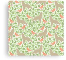 Coral green spring bird fox leaves floral pattern Canvas Print
