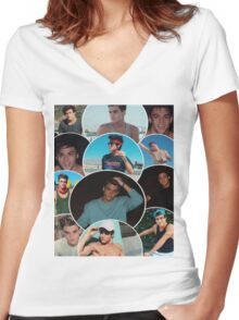 Dolan twins circle collage Women's Fitted V-Neck T-Shirt