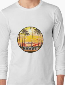 Hawaii Vintage Palm Tree Ocean Beach Canoe Palms Sunset Surfer Surfing Surf Long Sleeve T-Shirt