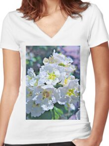Beautiful White Flowers Women's Fitted V-Neck T-Shirt