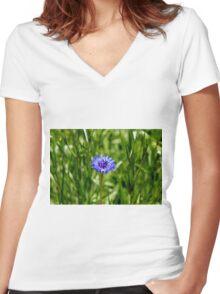 Blue Cornflower Women's Fitted V-Neck T-Shirt