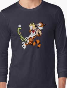 calvin and hobbes shocked Long Sleeve T-Shirt
