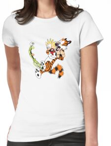 calvin and hobbes shocked Womens Fitted T-Shirt
