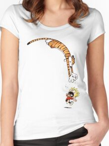 calvin and hobbes hungry Women's Fitted Scoop T-Shirt