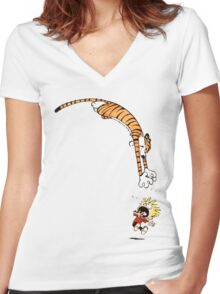 calvin and hobbes hungry Women's Fitted V-Neck T-Shirt