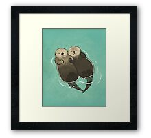 Significant Otters - Otters Holding Hands Framed Print