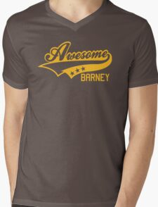 AWESOME BARNEY (yellow type) big version Mens V-Neck T-Shirt