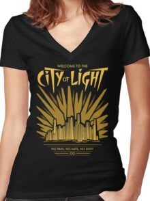 Welcome to the City of Light Women's Fitted V-Neck T-Shirt