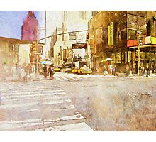 A busy Manhattan street corner painting Photographic Print