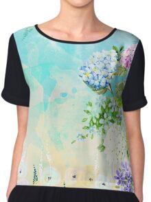 Watercolor Fresh Flowery Background Chiffon Top