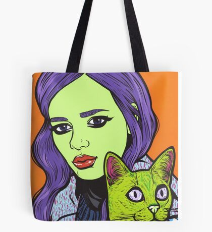 Girl with Cat Tote Bag