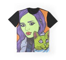Girl with Cat Graphic T-Shirt