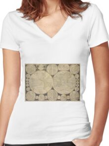 World Map 1798 Women's Fitted V-Neck T-Shirt
