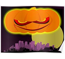 Evil Pumkin And City Poster