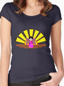Chinese Fairy Doll in Sunshine T-shirt, etc. design Women's Fitted Scoop T-Shirt