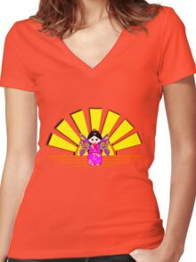 Chinese Fairy Doll in Sunshine T-shirt, etc. design Women's Fitted V-Neck T-Shirt