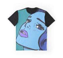Blue Comic Girl Graphic T-Shirt
