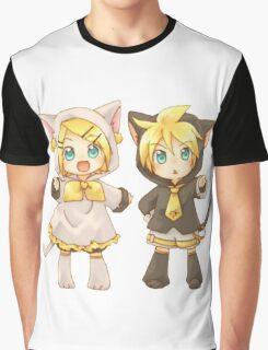 Cute Kagamine Rin and Len Neko Chibi Graphic T-Shirt
