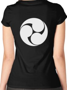 Tomoe, Japan, Japanese, Shinto symbol, Plain & Simple, White on Black Women's Fitted Scoop T-Shirt
