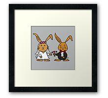 Cool Funny Bunny Rabbit Wedding Cartoon Framed Print