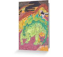 Allosaurus vs Stegosaurus Greeting Card