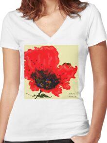 Flashy Flower Women's Fitted V-Neck T-Shirt