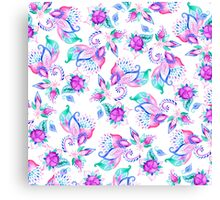 Modern pink turquoise hand painted floral paisley pattern illustration  Canvas Print