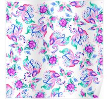 Modern pink turquoise hand painted floral paisley pattern illustration  Poster