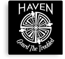 Haven Troubled Tattoo White Logo Canvas Print