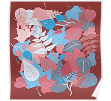 Leaves in Red and Blue Poster