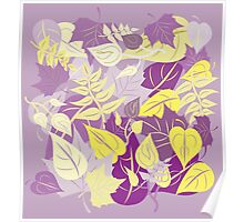 Leaves in Purple and Yellow Poster