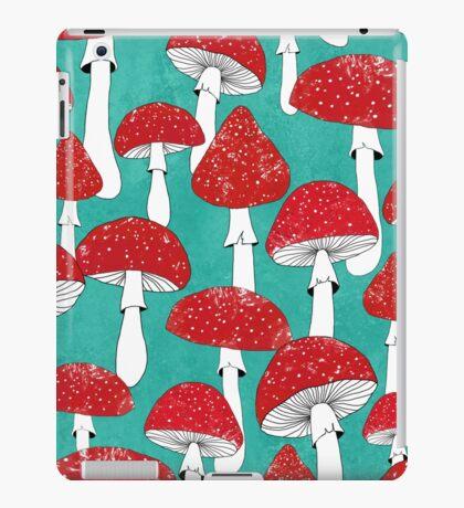 Red mushrooms on turquoise blue iPad Case/Skin