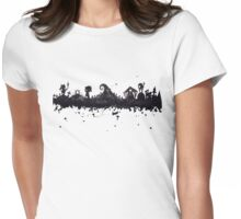 Halloween Town Nightmare Before Christmas Inspired Watercolor Skyline Womens Fitted T-Shirt