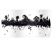 Halloween Town Nightmare Before Christmas Inspired Watercolor Skyline Poster