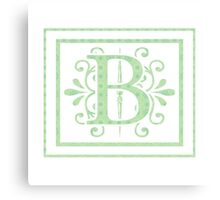 Alphabet Letters - B white background with Frame Canvas Print