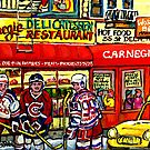 CAARNEGIE'S DELI IN NEW YORK WITH HOCKEY ART by Carole  Spandau