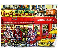 CAARNEGIE'S DELI IN NEW YORK WITH HOCKEY ART Poster