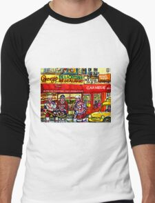 CAARNEGIE'S DELI IN NEW YORK WITH HOCKEY ART Men's Baseball ¾ T-Shirt