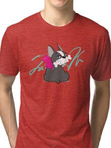 """French Bulldog """"Cherry"""" with a signature   Tri-blend T-Shirt"""