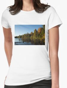 Fall Forest Lake - Reflection Tranquility Womens Fitted T-Shirt