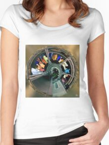 Spiral Washline Abstract Women's Fitted Scoop T-Shirt