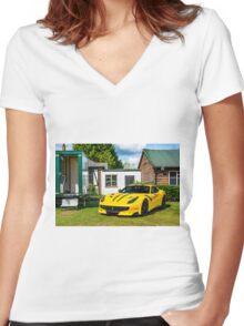 Ferrari F12 TDF Women's Fitted V-Neck T-Shirt