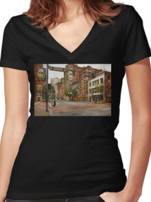 City - Pittsburgh PA - Running late Women's Fitted V-Neck T-Shirt