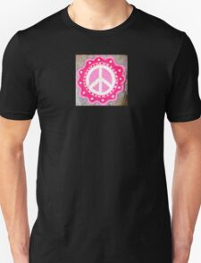 hand-painted pink/white peace symbol T-Shirt