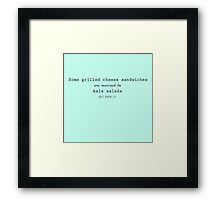 Grilled Cheese and Kale - Swan Queen (Black text) Framed Print